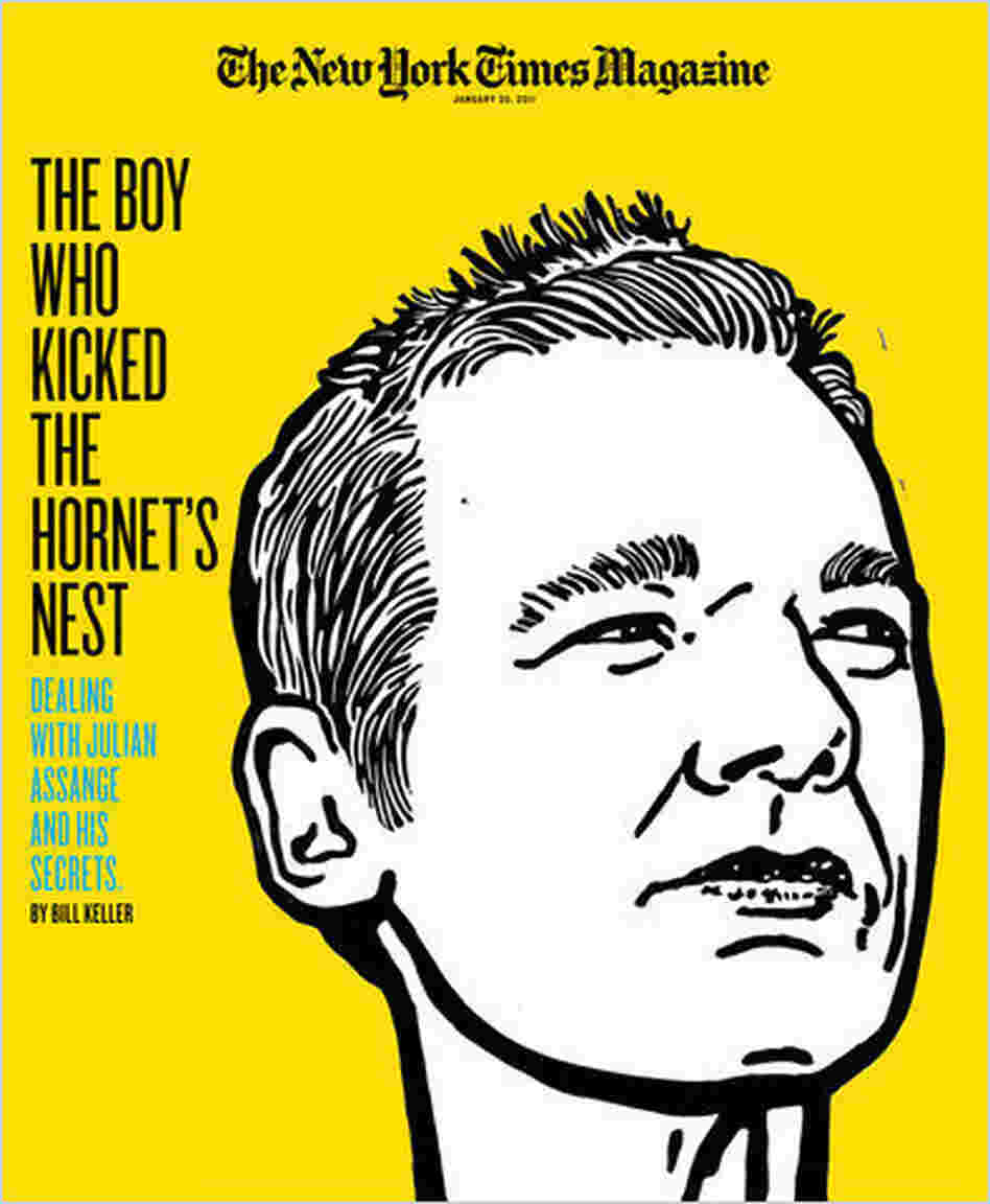 The 'New York Times Magazine' cover illustration of Julian Assange