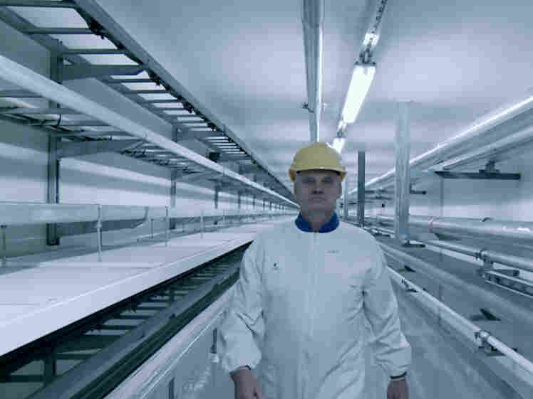 A technician at Onkalo, a nuclear waste storage facility in Finland