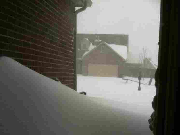 A snow drift in Tulsa, Oklahoma.