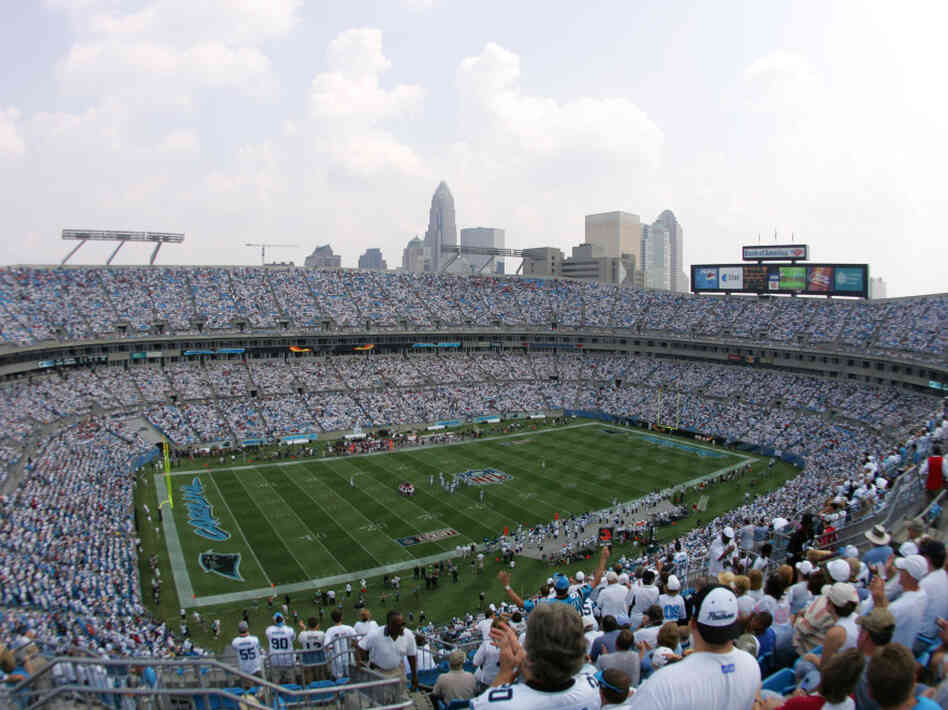 Downtown Charlotte, NC as seen from Bank of America Stadium during the game a Carolina Panthers-Atlanta Falcons game, September 2006.