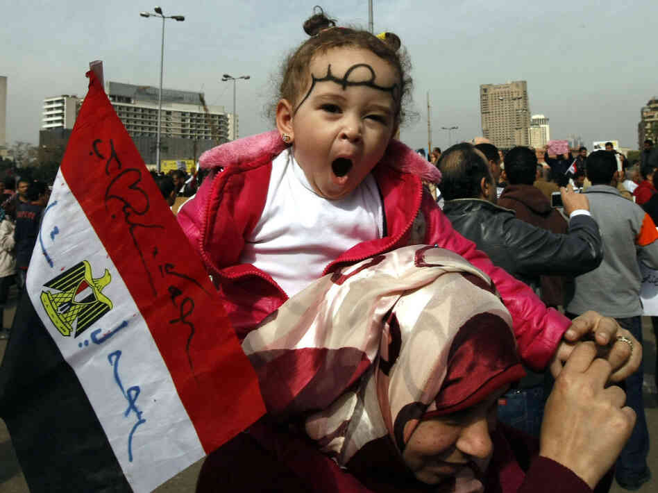 Reporters say many parents brought their children with them today to the demonstration in Cairo's Tahrir Square.