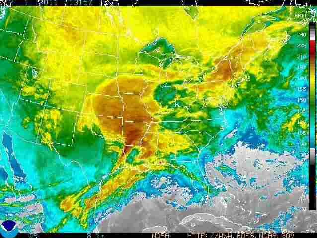 A radar of a massive winter storm expected to affect one-third of the country's population.