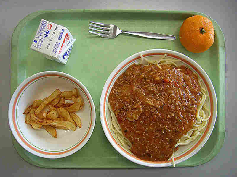 Japan, 2006. Milk, orange, spaghetti with meat sauce and fried potatoes.