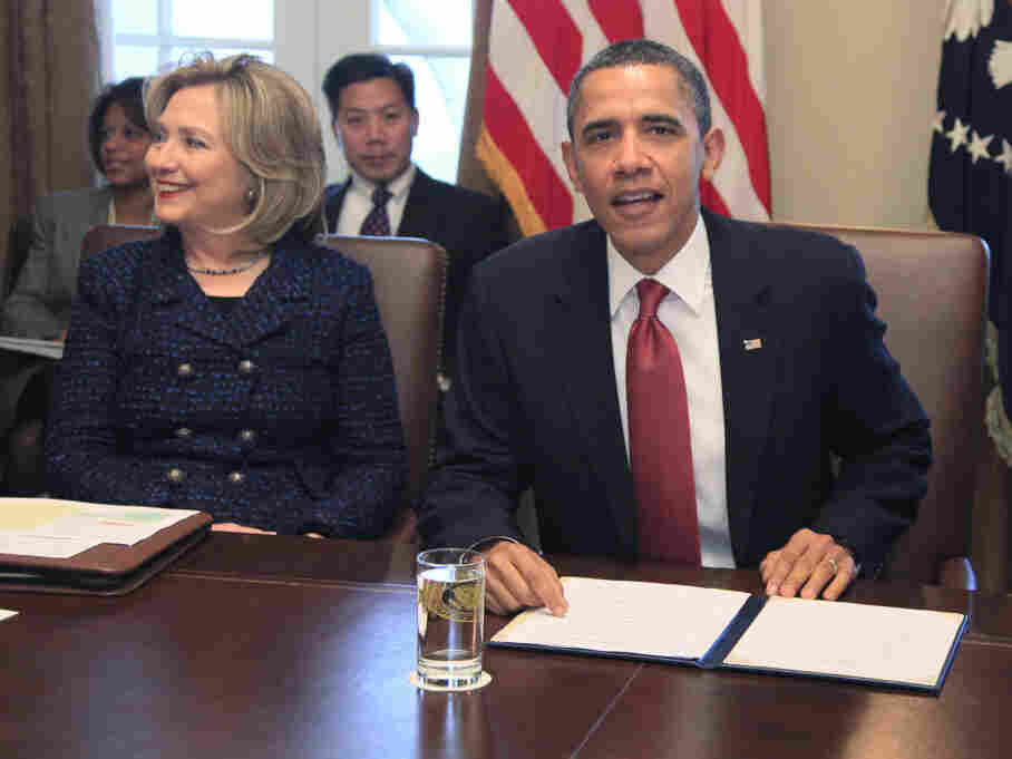 President Obama and Secretary of State Hillary Clinton at a Cabinet Meeting, Tuesday, Feb. 1, 2011.
