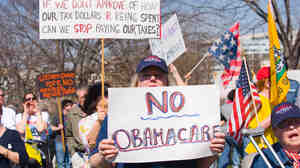 Supporters of the Tea Party movement protest health care overhaul outside the U.S. Capitol March 20, 2010.