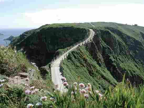 La Coupée, the narrow isthmus that connects the islands of Sark and Little Sark.