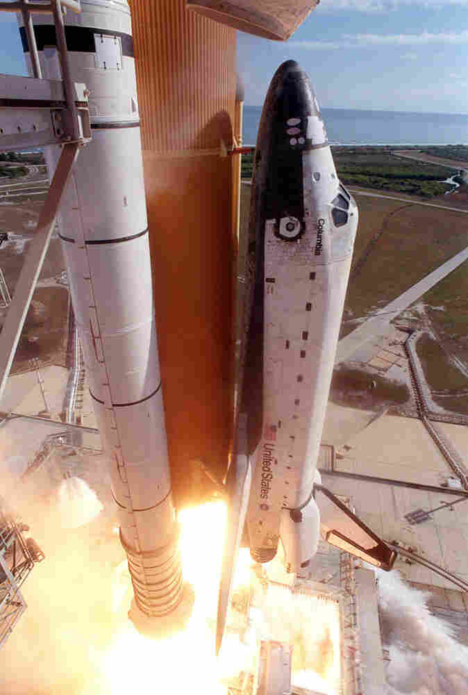 The Columbia lifts off from Florida on January 16, 2003. Damage incurred during the ascent into space resulted in the shuttle's disintegration during its return on February 1.