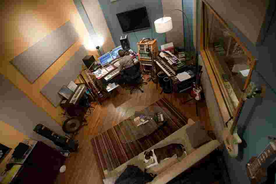 The artist Son Lux (Ryan Lott) in his studio in New York.