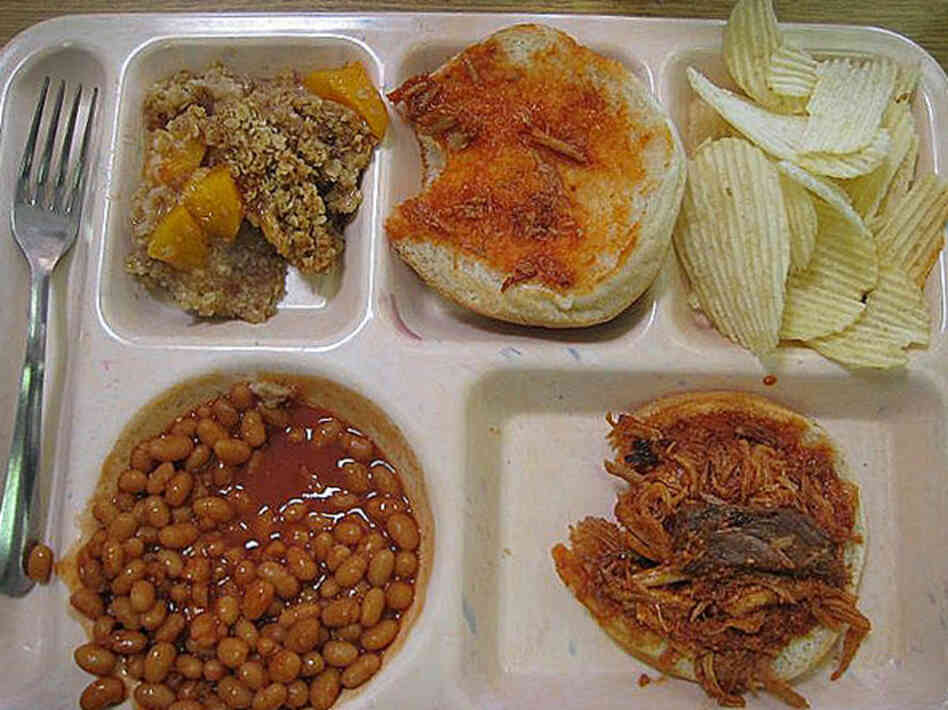 Cashion, Oklahoma, 2008. Peach crisp desert, chips, bbq beef sandwich and baked beans.