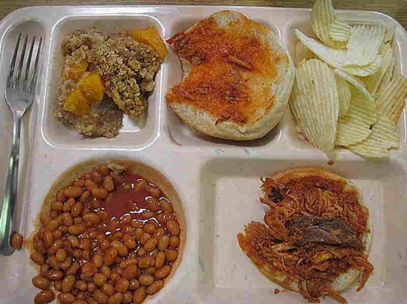 Cashion, Oklahoma, 2008. Peach crisp desert, chips, bbq beef sandwich and baked beans.