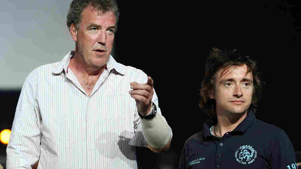 Top Gear presenters Jeremy Clarkson and Richard Hammond look on during a media call for 'Top Gear Live' in New Zealand.
