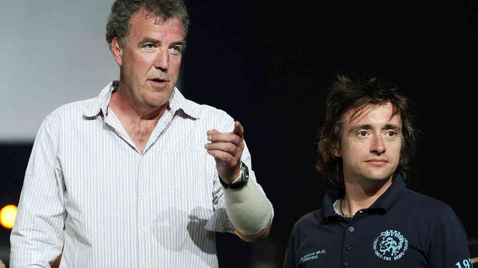 Top Gear presenters Jeremy Clarkson and Richard Hammond look on during a media call fo