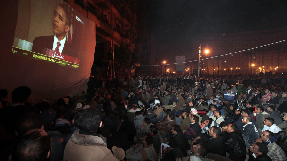 Protesters gathered in Cairo's Tahrir Square watch President Obama speaking from Washington, D.C., about the situation in Egypt.