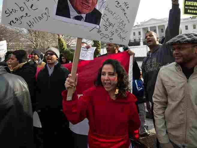 Americans demonstrate in support of the Egyptian people's protests against President Hosni Mubarak in front of the White House on Saturday.