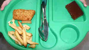 A 2005 school lunch in London of chicken, french fries and a brownie. England passed a law in 2006 to improve school nutrition.