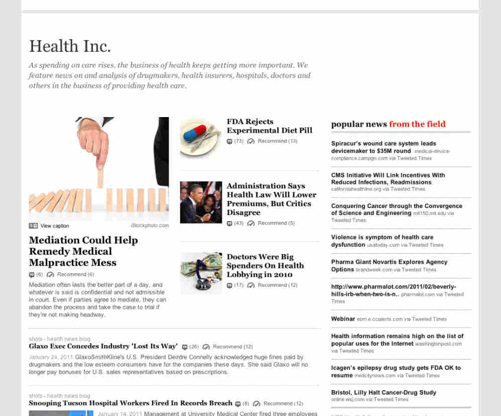 """The """"Health Inc."""" topic page."""