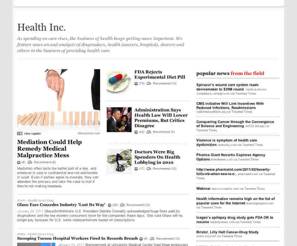 "The ""Health Inc."" topic page."