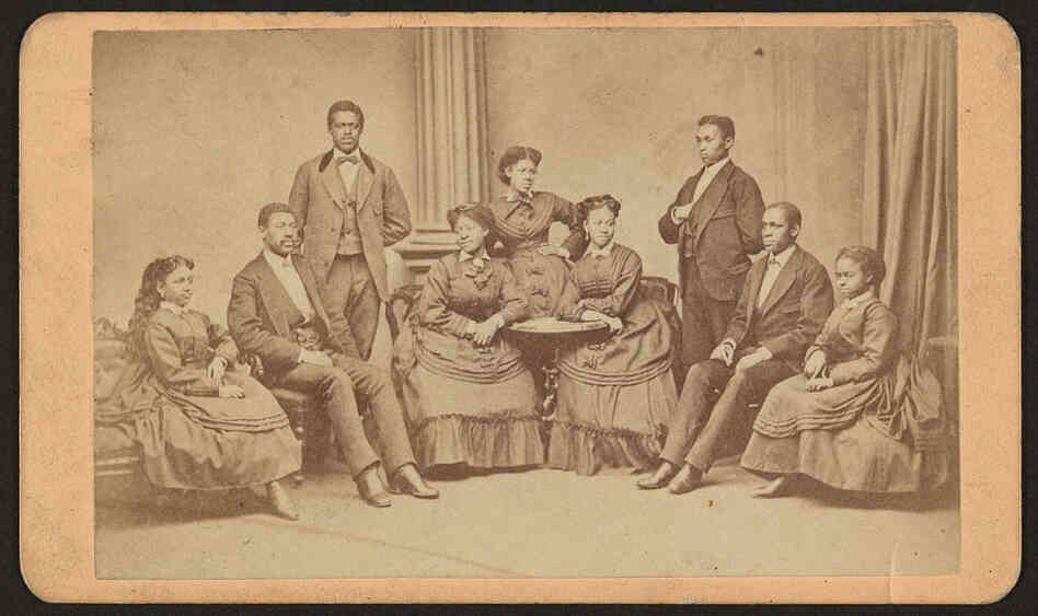 The Jubilee Singers, seen here around 1875. The group performed for President Ulysses S. Grant at the White House on March 5, 1872.