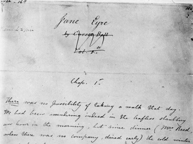 The first page of the manuscript of Charlotte Bronte's Jane Eyre.