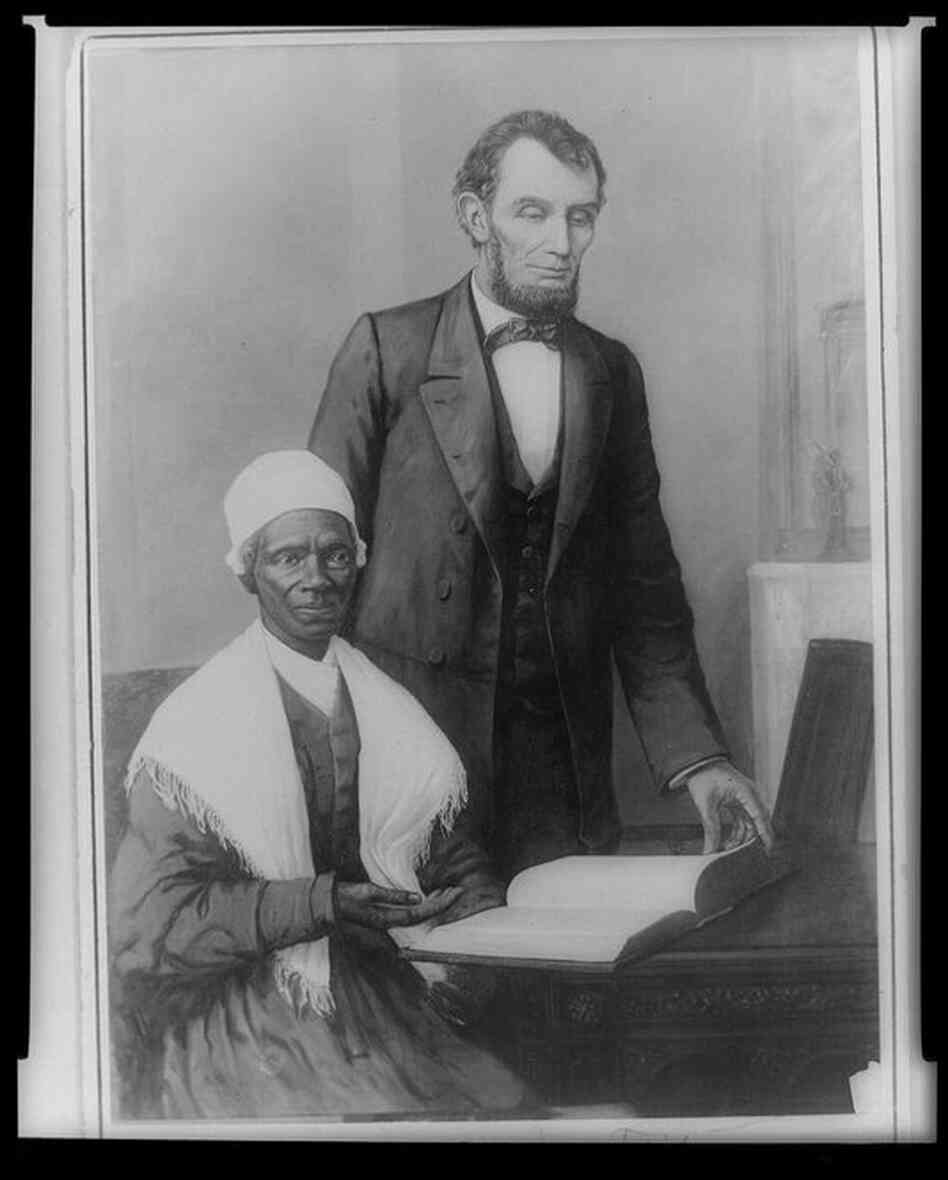 Sojourner Truth and President Lincoln in the White House, October 29, 1864. They met early in the morning, and though the meeting was more of a courtesy call than a substantive discussion, Truth remembered it fondly.