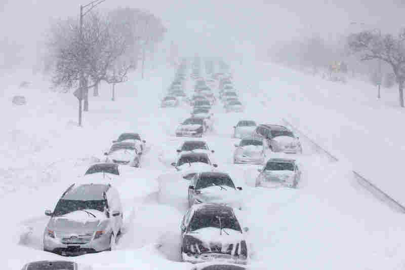 Approximately 700 to 900 cars were stranded on Lake Shore Drive in Chicago during Wednesday's blizzard. The storm, the city's third worst on record, left some drivers stuck in their cars for up to 12 hours.