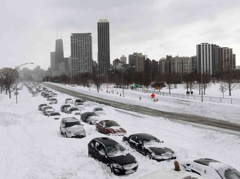 Abandoned cars lined Chicago's Lake Shore Drive on Wednesday.