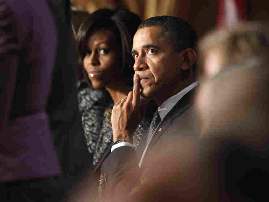 President Obama and First Lady Michelle Obama at the National Prayer Breakfast in Washington,  Feb. 3, 2011.
