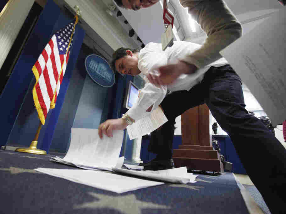 White House reporters pick up old fashioned paper transcripts and pool reports because there were no e-mails.