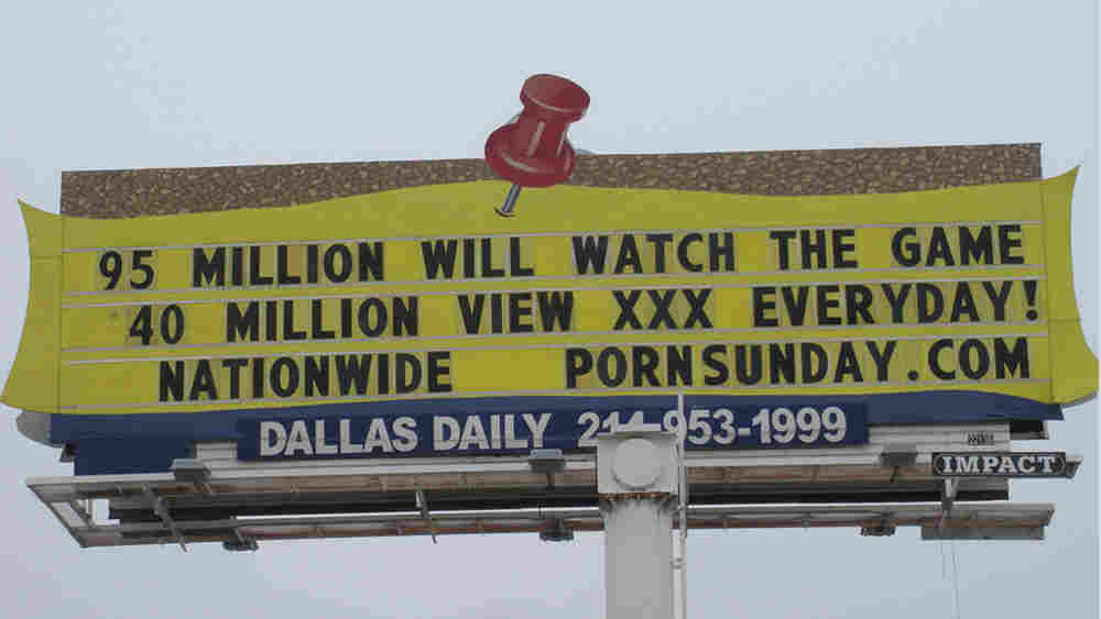 One of several billboards put up by XXXChurch.com in advance of Sunday's Super Bowl. The nonprofit ministry aims to help those battling pornography addictions.