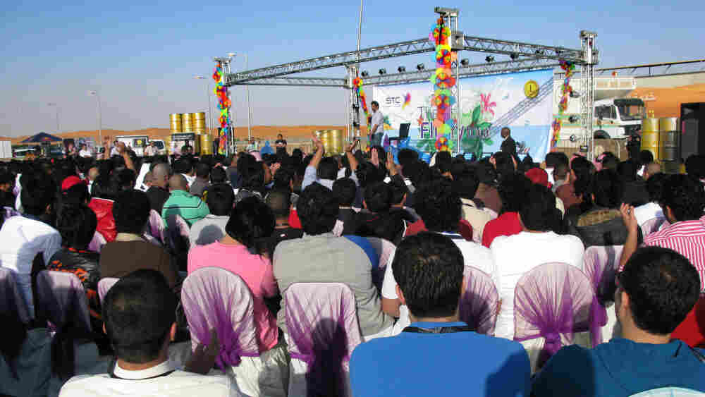 A comedy show, with government approval, takes place 80 miles outside Riyadh, the capital of Saudi Arabia.