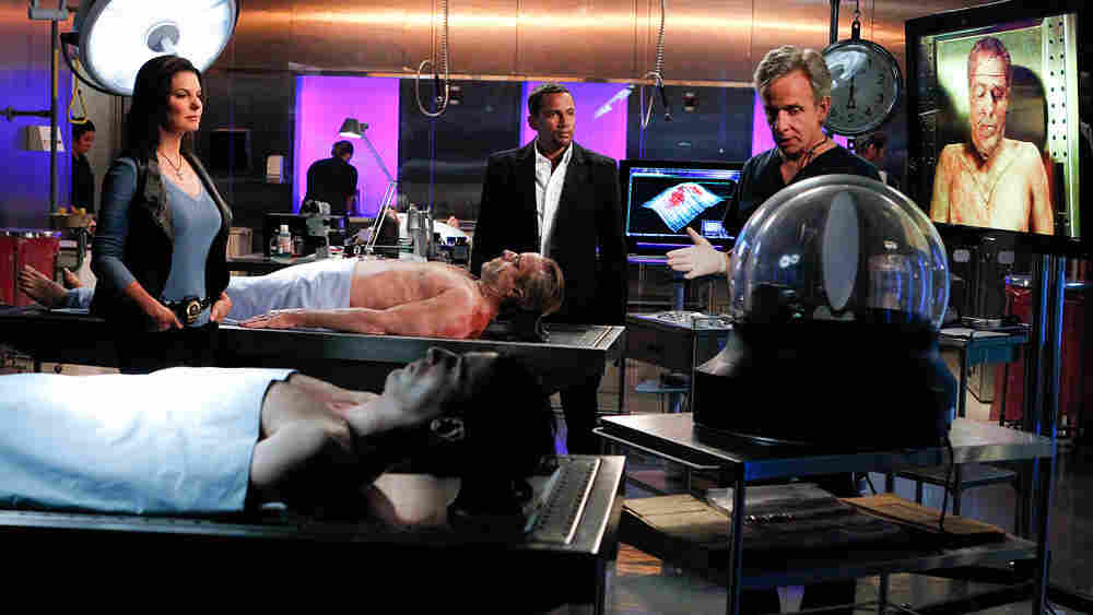 "Television shows like CSI provide an unrealistic view of the technology available to death investigators. In this photo from a recent episode of CSI:NY, characters Det. Josephine ""Jo"" Danville (Sela Ward) confers with Dr. Sheldon Hawkes (Hill Harper) and Dr. Sid Hammerback (Robert Joy) in their lab."