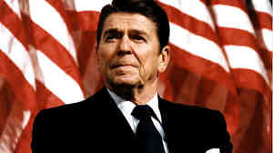 President Ronald Reagan, shown speaking on Feb. 8, 1982, has clearly been on President Obama's mind, says presidential historian Douglas Brinkley.