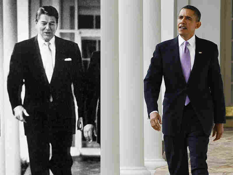 "Ronald Reagan (left) walks through the colonnade of the White House on Feb. 14, 1984; President Obama on Jan 25, 2011. Lately, ""the president has Ronald Reagan on his mind,"" says presidential historian Douglas Brinkley."