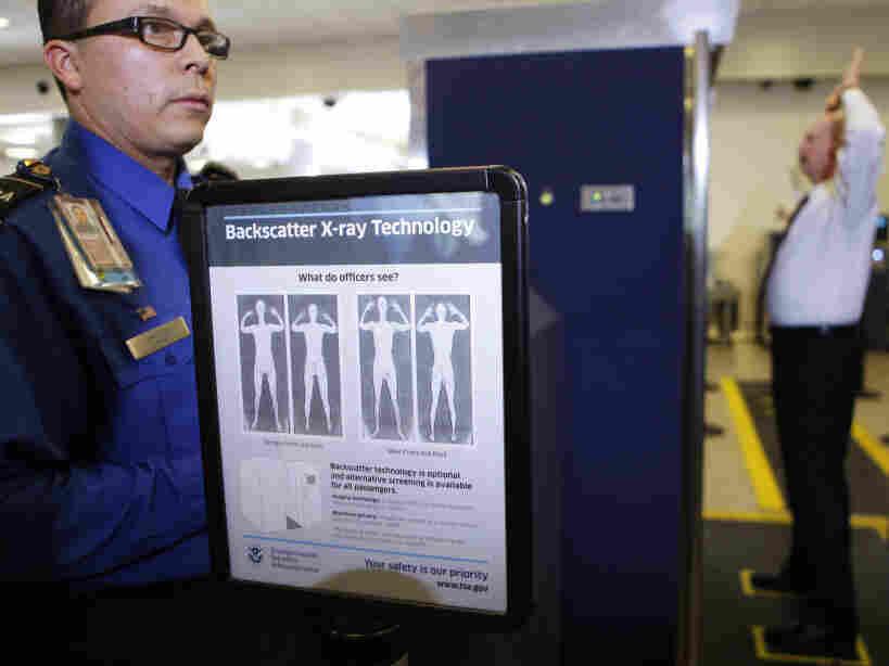TSA screener Marlon Tejada at a full body X-ray scanner demonstration at Los Angeles International airport in November, 2010.