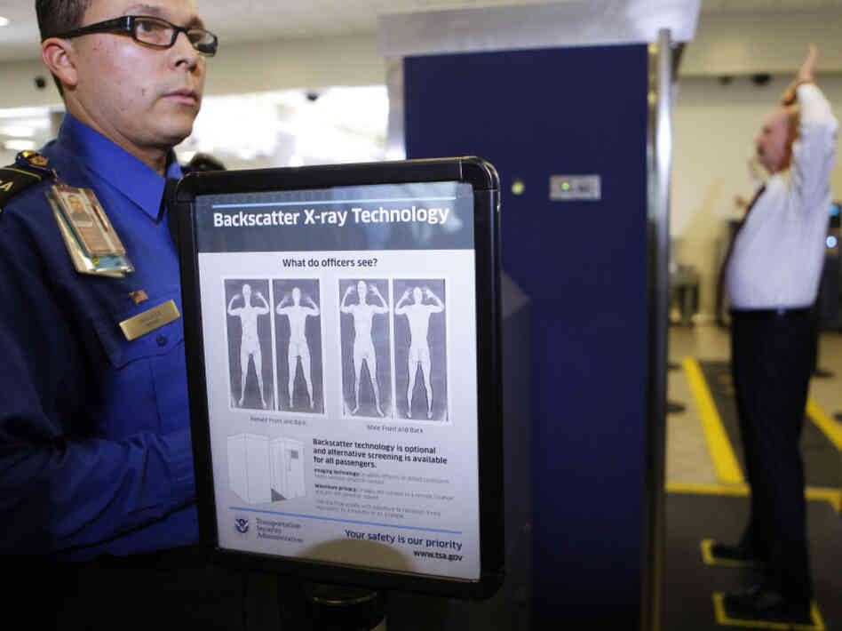 TSA screener Marlon Tejada at a full body X-ray scanner demonstration at Los Angeles International airport in November, 2010.