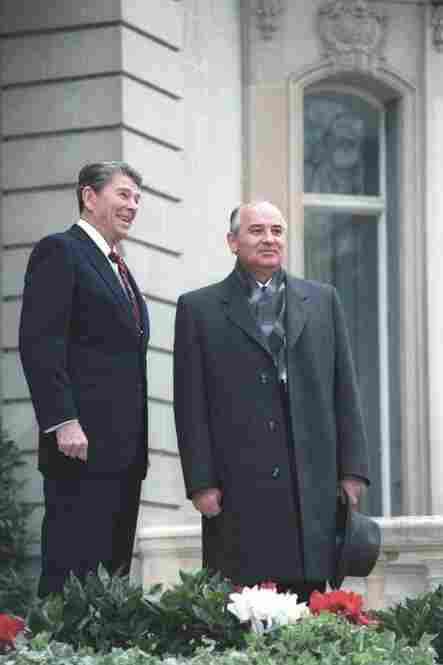 Reagan's meetings with Soviet leader Mikhail Gorbachev ultimately lead to a treaty eliminating intermediate-range nuclear missiles. Pictured here is his first meeting with Gorbachev in 1985.