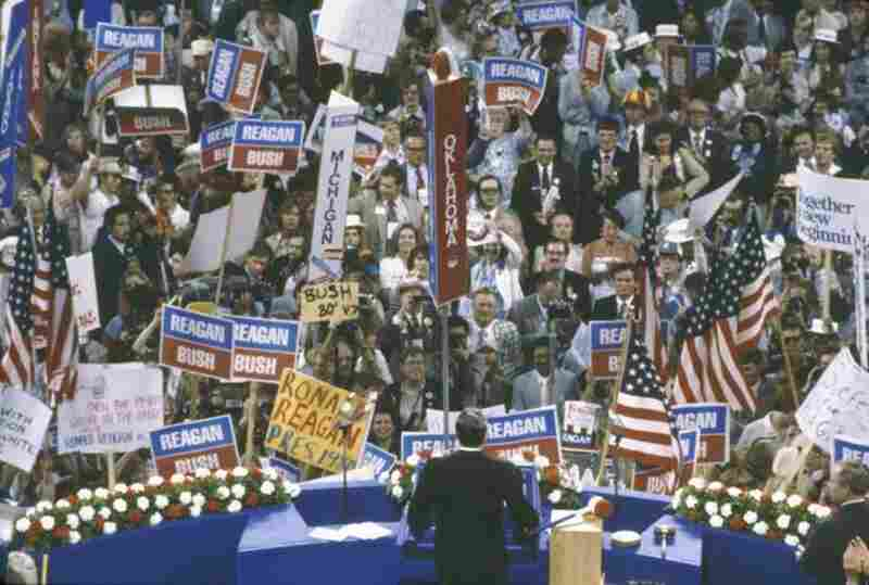 Reagan gives his acceptance speech at the Republican National Convention in Detroit, July 17, 1980.