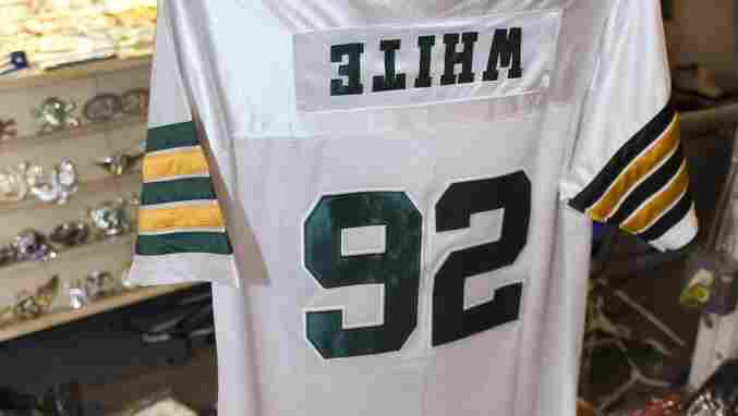 A counterfeit Green Bay Packers jersey, with the name tag sewn on upside down, was found during a search in the Tampa Bay, Fla., area for unauthentic merchandise leading up to Super Bowl XLIII.