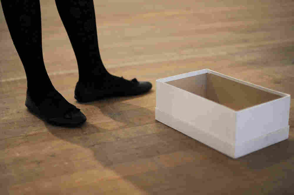 A work of art entitled 'Empty Shoe Box 1993' by Mexican artist Gabriel Orozco is pictured during the press view of the Gabriel Orozco exhibition at the Tate Modern in London.