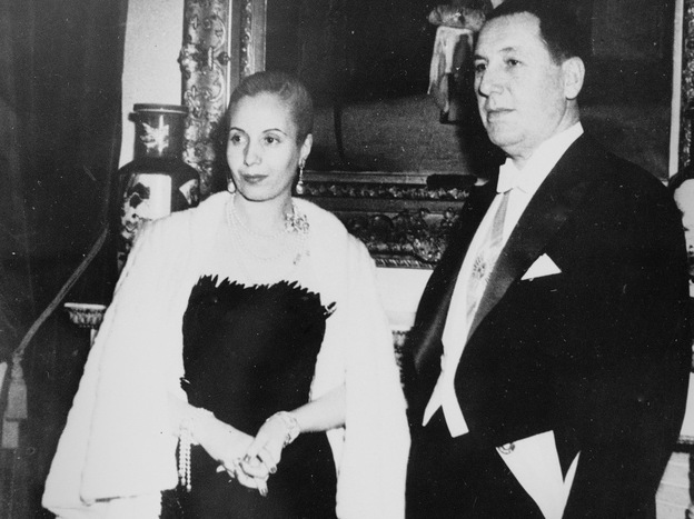 The belongings of former President Juan Peron, shown with his wife, Eva, are at the center of a debate in Argentina.