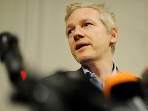 WikiLeaks founder Julian Assange speaks during a press conference at the Frontline club in London. As the U.S. tries to cobble together their own case against the him, Assange is in a London court this week to testify against sex crime allegations.