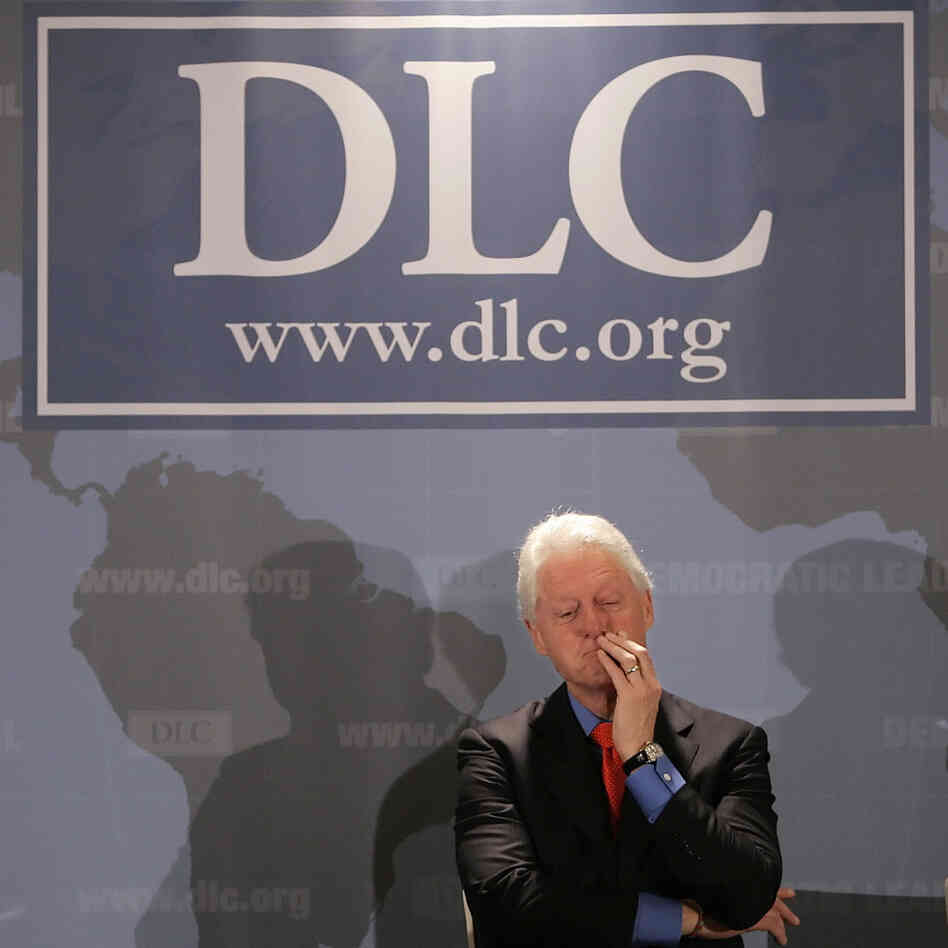 Former President Bill Clinton under a Democratic Leadership Council banner,  December 2006.