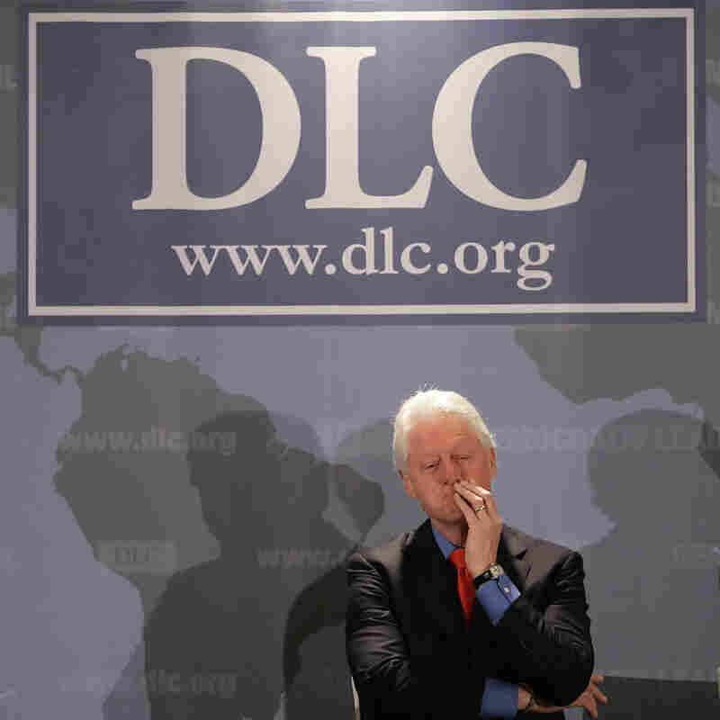 Former President Bill Clinton under a Democratic Leadership Council banner,  December 2006.