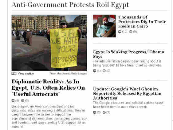 """NPR's coverage of the protests in Egypt. Columnist Gregory Rodriguez argues that Americans like to take credit for all revolutions, and suffer from """"revolution envy."""""""