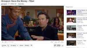 "Screen grab from Groupon.com's ""Save the Money - Tibet"" Super Bowl ad."