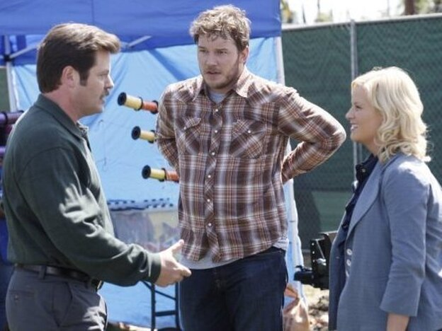 Nick Offerman as Ron Swanson, Chris Pratt as Andy Dwyer and Amy Poe