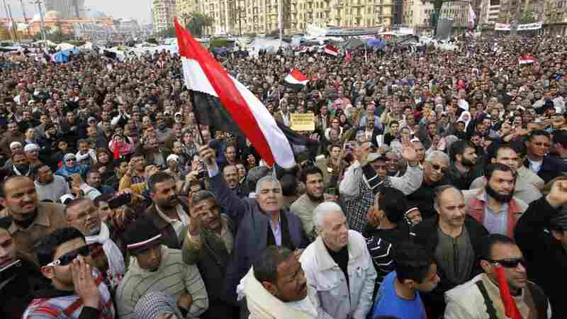 Thousands of anti-government protesters gather in Cairo's Tahrir Square on Monday.