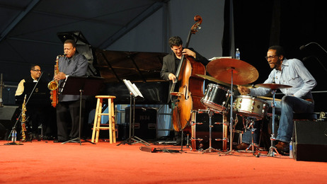 The Wayne Shorter quartet performs at the 2010 New Orleans Jazz and Heritage Festival. L-R: Danilo Perez, Shorter, John Patitucci, Brian Blade.