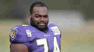 Baltimore Ravens offensive tackle Michael Oher during the NFL football team's training camp, Tuesday, Aug. 3, 2010.