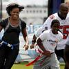 First lady Michelle Obama promotes the Let's Move! campaign and the NFL's Play 60 anti-obesity initiative on Sept. 8 in New Orleans.